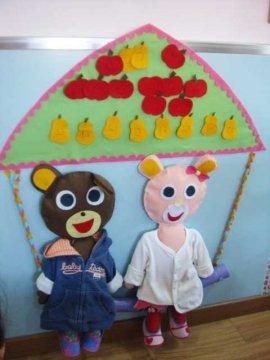 幼儿园生活环境布置:给小熊穿衣服